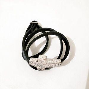 Black Leather Silver Cross Wrap Bracelet